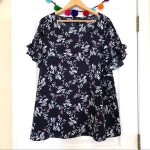 Lane Bryant Navy and Pink Floral Ruffle Sleeve Top
